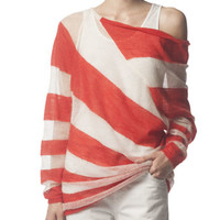 Asymmetric Striped Mohair-Blend Wide-Neck Sweater