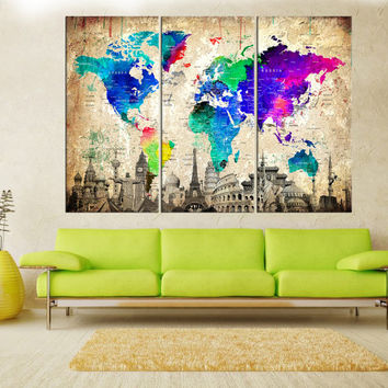 Extra large world map wall art, push pin world map canvas, Push Pin travel map, large world map canvas wall art with countries No:7S06