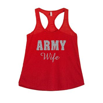 Women's Army Wife Glitter Graphic Print Polyester Tank Tops for Regular and PLUS - Small ~ 3XL