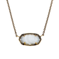 Elisa Pendant Necklace in White Banded Agate - Kendra Scott Jewelry