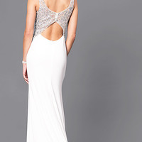 Ivory Long Prom Dress with Back Cut Out