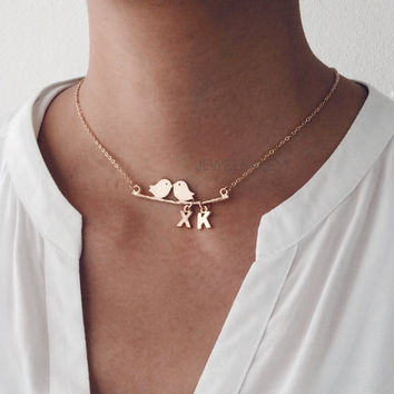 Gold Bird Necklace with Names Initials Couple Love Mother Daughter Gift Modern Jewelry Layered Charm Necklace Simple Dainty Woodland C1