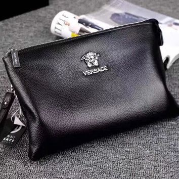 VERSACE MEN'S CLASSIC LEATHER HAND BAG