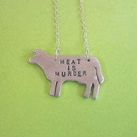 Meat is Murder Cow Eco Friendly necklace