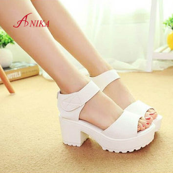 2015 Women Summer shoes white Black fashion platform soft PU sandals women's high-heeled shoes thick heel sandals free shipping
