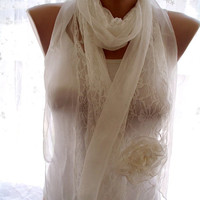 Lace scarf, white lace scarf,scarves for women, soft scarf, cozy scarf, trendy scarf