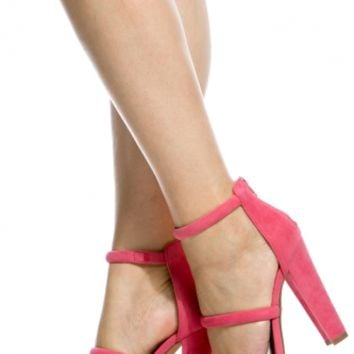 Coral Faux Suede Triple Strap Chunky Heels @ Cicihot Heel Shoes online store sales:Stiletto Heel Shoes,High Heel Pumps,Womens High Heel Shoes,Prom Shoes,Summer Shoes,Spring Shoes,Spool Heel,Womens Dress Shoes
