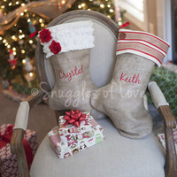 Personalized Monogrammed Burlap Christmas Stocking - Shabby Chic Stockings - 6 Styles to Choose From - Girls, Boys, Men & Women Styles