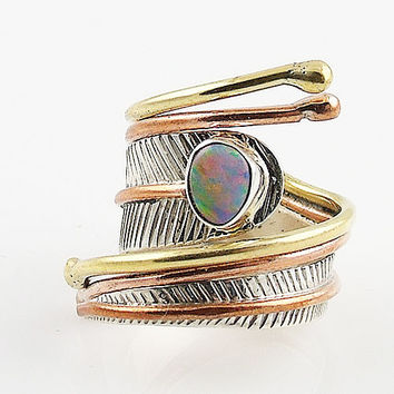 Australian Fire Opal Sterling Silver Adjustable Wrap Ring