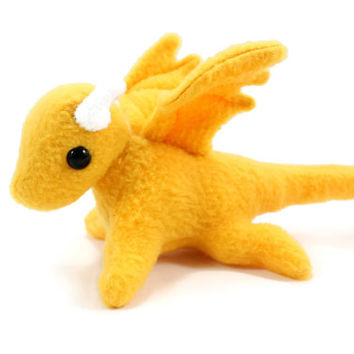 Golden Yelow Dragon Stuffed Animal, Plushie, Plush Toy, Softie, Toy Animal, Small Stuffed Dragon