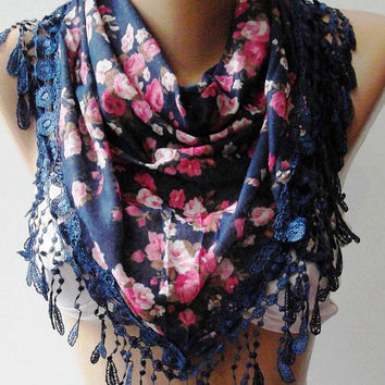 Dark Blue - Pink  flowered - Elegance  Shawl / Scarf with Lacy Edge,,