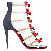Christian Louboutin GIRLISTRAPPI 100 Bow Heels Sandal Shoes Red Denim Blue $1295
