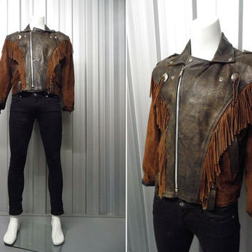 Vintage 80s Brown Real Leather Fringed Leather Mens Jacket XL Jacket Navajo Leather Jacket Native American Suede Jacket Cowboy Jacket Rodeo