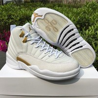 "Air Jordan 12 OVO ""White"" AJ 12 Men Women Basketball Shoes"