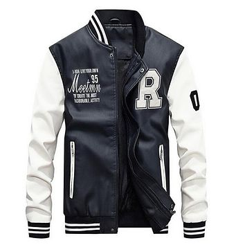 Mens Baseball Faux Leather Jacket in White