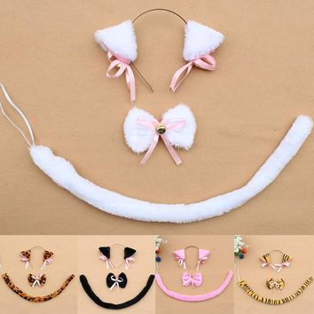 Anime Party Cslay Cstume Accessory Sweet Lovely Lolita Maid Neko Cosplay Cat Ears Headwear+tail+tie New Free Shipping