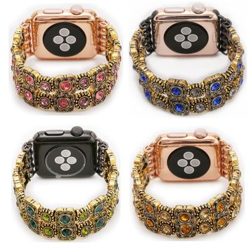 DAHASE Natural Agate Stretch Bracelet for Apple Watch Band Women's Fashion Wrist Strap for iWatch 1st 2nd with Adapters