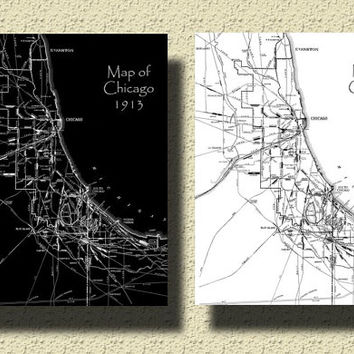 Print CHICAGO 1913 Vintage City Street Map Black & White Print Customizable Home Decor Wall Decor C001
