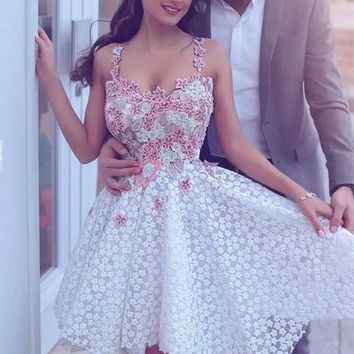 White Lace Applique Cute Homecoming Dress