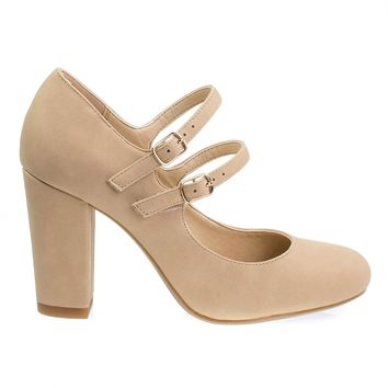 City Classified Comfort Padded Insole Double Buckle Mary Jane Dress Pump, Chunky Block Heel