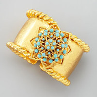 Hammered Gold & Turquoise Hinge Cuff