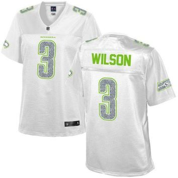 ONETOW Women's Seattle Seahawks Russell Wilson NFL Pro Line White Out Fashion Jersey