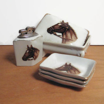 Vintage Porcelain Cigarette Box Ashtray and Lighter Set Horse Lover