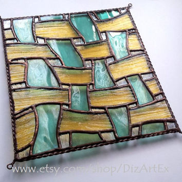 Abstract mini-vitrage. Stained Glass. Handmade.