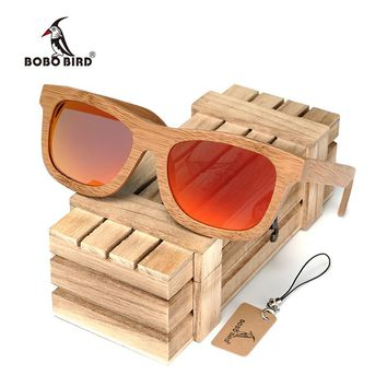 BOBO BIRD BG003 Brand Design Handmade Simple Fashion Style Nature Bamboo Sunglasses Women Men Polarized Glasses with Wooden Box