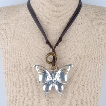 Vintage statement necklace cute butterfly pendant choker jewelry lovely leather rope necklaces Insect pendants collares mujer