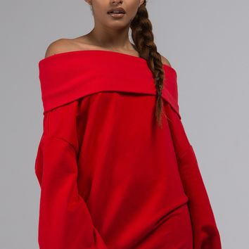 AKIRA Label Off SHoulder Oversized Long Sleeve Sweatshirt in Red