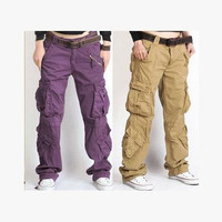 2016 New Women's Cargo Pants Leisure loose Trousers more Pocket pants