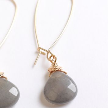 Secret Stone Earrings Grey