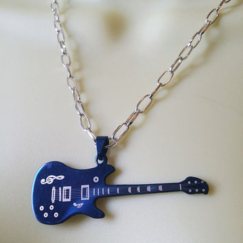stainless steel guitar necklace, blue electric guitar pendant, music necklace punk rock and roll unisex handmade jewelry