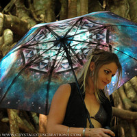 MERKASTAR Crystalotus print Umbrella, shade umbrella, wedding umbrella, galaxy umbrella, festival umbrella, parasol, beach umbrella, merkaba