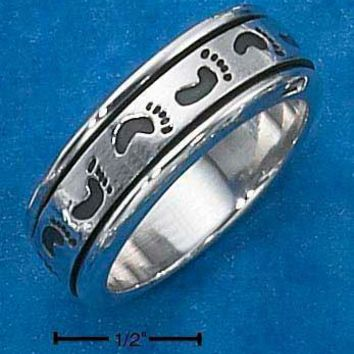 Sterling Silver Ring:  Mens Worry Ring With Footprints Spinning Band