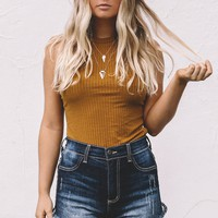 Weekend Adventures Mustard Ribbed Sleeveless Top
