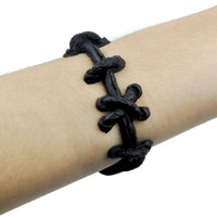 Frankenstein Black Stitch Bracelet FX Wristband Metal