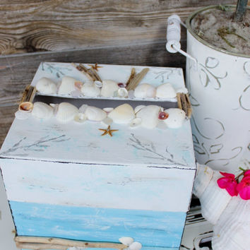 Hand Painted Seascape Card Box with Driftwood , Shells and Seaglass One of a Kind Beach Wedding Decoration