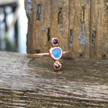 Australian Black Opal Double Sapphire Rosegold Ring, October Birthstone Ring, September Birthstone Ring, Multi Blue Gemstone Ring