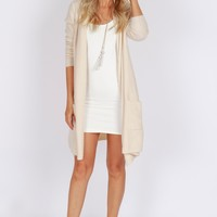 Open Front Cardigan Sweater Taupe