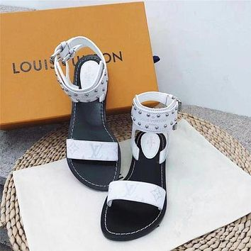 【Louis Vuitton】LV One word with flat bottom high boots  Black  white  brown  3 (color)