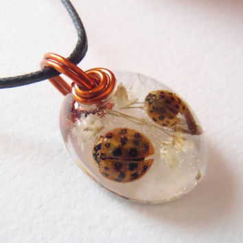 Real Ladybugs White Flowers Resin Pendant Nature Necklace Bohemian Jewelry  Amber Wire Insects Bugs Earth Forest Woodland Babies Breath