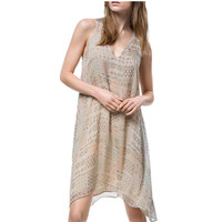 Tribal Print V-Neck Sleeveless Asymmetrical Chiffon Dress