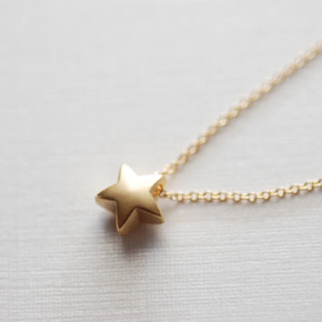 North Star Necklace- Gold Star, Puffy Star Necklace, Moon and Star, Christmas Gift