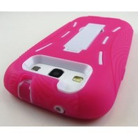 Pink and White Kickstand Hybrid Silicon Rubber Gel Hard Plastic Cover Case w/ Stand for Samsung Galaxy S3 III I9300 L710 I535 I747 T999 (Sprint, Verizon, At&t, T-mobile)