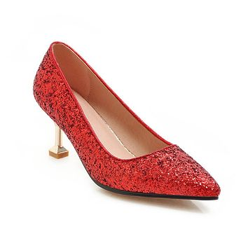 Pointed Toe Sequined High Heel  Shallow Women Pumps Kitten Stiletto Heel Shoes