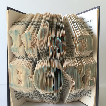 It's a Boy! Book Fold Baby Announcement Gender Reveal Surprise Grandparents Book Sculpture Personalized Baby Shower Centerpiece Unique Art