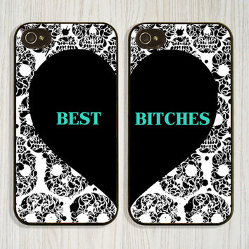 Personalized Monogrammed Best Friend Bitches Skulls iPhone 5 5c 5s Case, iPhone 4 4s Case, Samsung Galaxy s4 s5 Case, Cover, Custom