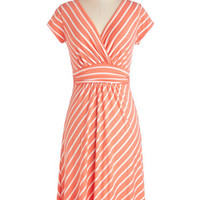 ModCloth Long Short Sleeves A-line Casual Decorum Dress in Coral Stripes